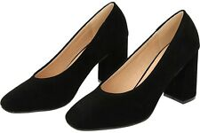 Faux Suede Leather Style Block High Heel Court Shoes UK 5 EU 38 TD40 black suede