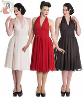 HELL BUNNY marilyn MONROE 50s style evening PARTY DRESS cocktail BLACK CREAM RED
