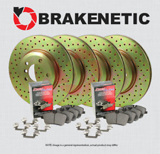 FRONT CERAMIC PADS 82584PK POWER CROSS DRILLED SLOTTED PLATED BRAKE ROTORS