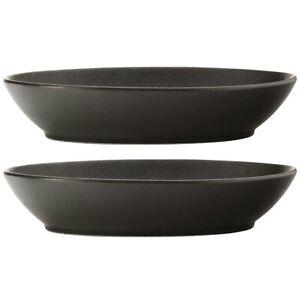 2pc Maxwell & Williams 30cm Caviar Oval Bowl Servingware Bowl/Dish Food Black
