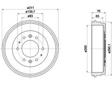 1 X MBD335 MINTEX BRAKE DRUM INNER 260 MM, OUTER 311 MM