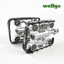 "Wellgo Pedal WPD-M17C Clipless Flat Platform MTB SPD 9/16"" Pedals Silver + Black"