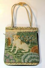 Vintage Embroidery Puppy Dog Picture Shoulder Purse Handbag Bag Tote Purse NEW