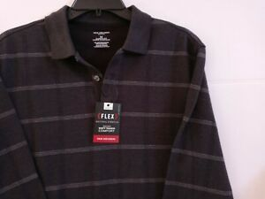 New Van Heusen Men's Knit Medium Black & Grey Shirt Flex Classic Fit Sweater $56