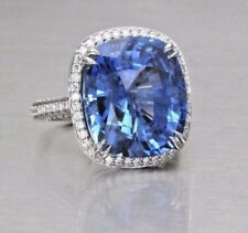 Engagement Ring In 925 Sterling Silver 4.75Ct Cushion Shape Blue Sapphire Stone