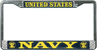 US NAVY HIGH QUALITY METAL LICENSE PLATE FRAME - MADE IN THE USA!!