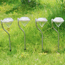 1x Solar Stainless Steel Garden Lights LED Path Lawn Pathway Yard Stake Lamps