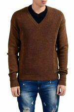 Dsquared2 Men's 100% Wool Brown V-Neck Sweater US M IT 50