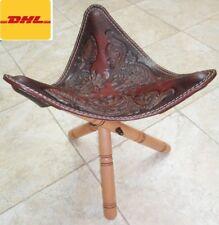 Egyptian Chair Foot Stool Ottoman genuine Leather Wood Seat Garden