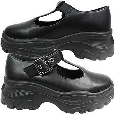 Para mujeres Damas Escuela de cuña con plataforma suela gruesa hebilla de barra en T Goth Zapatos Talla Nuevo