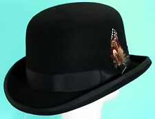SCALA * BLACK WOOL DERBY HAT * L or XL * NEW MENS TOP QUALITY SATIN LINED BOWLER