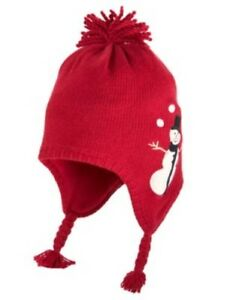 GYMBOREE SNOW CHILLIN' RED SNOWMAN TRAPPER SWEATER HAT 0 12 24 2T 3T NWT