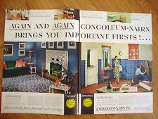 1948 Congoleum Nairn Linoleum Ad  Living Room Kitchen Floors & Wall Coverings