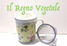 TISANIERA Ceramica ERBE ROSA Tazza+Filtro Acciaio+Coperchio Tè/Infusi/Tisane