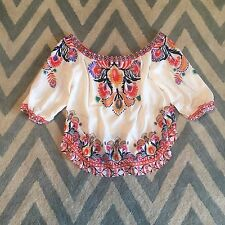New Anthropologie Women's Off the Shoulder Boho Peasant Blouse Top Size LARGE