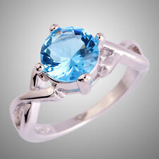 Fresh Sweet Round Cut Blue Topaz Gemstone Silver Rings Size L N P R T Solitare