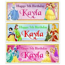 X 2 PERSONALISED DISNEY PRINCESS BIRTHDAY BANNER NAME DECORATION 5TH ANY AGE