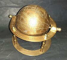Antique World Globe Planet Earth Paperweight Desk Brass Base