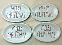 Rae Dunn Merry Christmas Plates Set of 4 Small Oval 8 X 5.5 Magenta Ivory