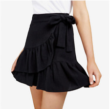 new RRP $110 FCUK FRENCH CONNECTION RUFFLE WRAP SKIRT BLACK  s16
