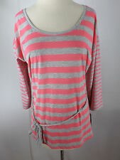 Shirt/Top/Blouse OH BABY MOTHERHOOD Maternity Pink Gray 3/4 Sleeve Tie Large NWT