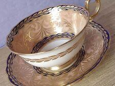 Antique 1910's Star Paragon England blue Peach gold bone china tea cup teacup
