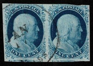 Scott#9 1c Benjamin Franklin 1851 Pair Used