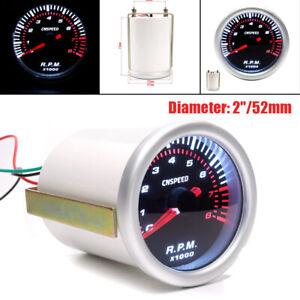 "2""/52mm Car Truck Instrument Tachometer White Light For 4/6/8 Cylinder Gasoline"