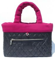 CHANEL Navy Blue Quilted Leather Magenta Pink Jersey Large Coco Cocoon Tote Bag