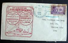USA NAVAL COVER CACHET 1934 USS CROWN IN SHIELD DESTROYER  15th BIRTHDAY