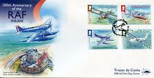 Tristan da Cunha 2018 FDC RAF Royal Air Force 4v Set Cover Aviation Stamps
