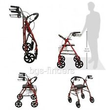 Medical Supplies Walkers for Elderly Seniors with Seat Rolling Drive Folding Red