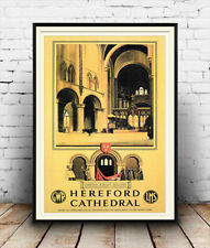 Hereford Cathedral  : Vintage Advertising  Poster reproduction