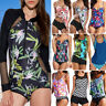 Women Long Sleeve Surfing One Piece Bikini Monikini Swimsuit Zipper Bathing Suit