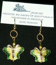 UNIQUE CLOISONNÉ BUTTERFLY EARRINGS WITH CRYSTALS by Sandy of Scottsdale