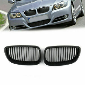 Matt Black Kidney Grille Grill Mesh For BMW E92 E93 2DR LCI 2006-2009 1