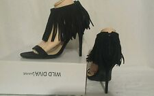 ☆☆NEW☆☆ Wild Diva Lounge Fringe Womens Sz.9 M Black Faux High Heels Ankle Strap