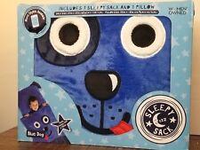 Plush Sleepy Sack and Pillow Blue Dog Sleeping Bag Travel Sleepovers Nap Time