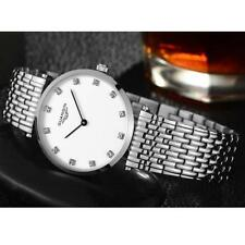 Stainless Steel Case Unisex Round Watches with 12-Hour Dial