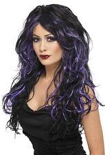 Halloween Gothic Perücke schwarz-lila NEU - Karneval Fasching Perücke Haare