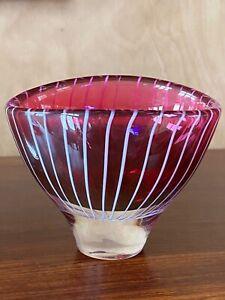 1950's red zebra vicke lindstrand kosta vase