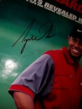 """TIGER WOODS HAND SIGNED PEN 23X35 PRINT AUTOGRAPHED """"GOLF'S NOT HARD"""" PGA NIKE"""
