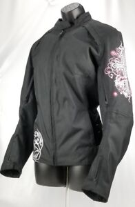 Speed and Strength Cross My Heart Ladies Textile Motorcycle Jacket Black Pink L