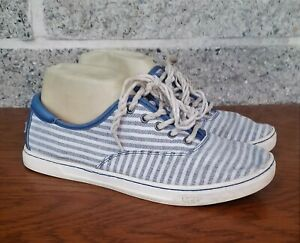 UGG WOMENS EYAN II BLUE WHITE STRIPED OYSTER COTTON LACE UP SNEAKERS SIZE US 9