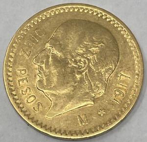 1917 Mexico Diez Pesos 10 Pesos Gold Coin (8.3g)