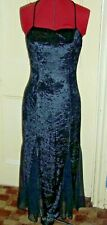 Designs on You size 10 black crushed velvet & chiffon long strappy party dress