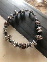 Antiqued Metals Crystal Shimmer Multicolor Artisan Bracelet