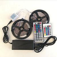 Full Kit 5M 10M 5050 RGB LED Strip Light Lights+24/44 Key IR Remote+12V Power .S