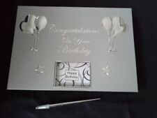 Silver Guest Book w Pen - Birthday 16th 18th 21st 25th 30th  50th 70th 80th