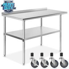 Open Box Stainless Steel 24 X 48 Nsf Kitchen Prep Table W Backsplash Casters